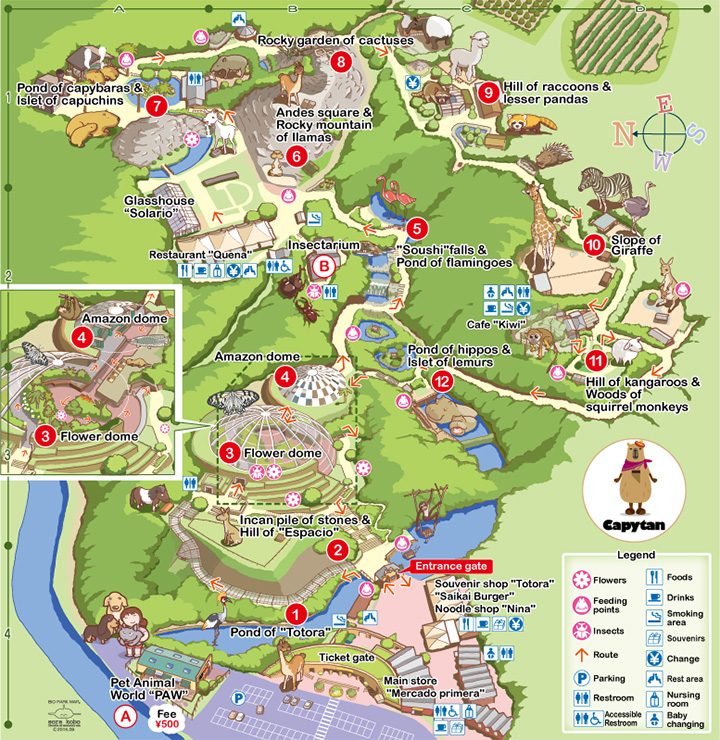 Nagasaki On World Map.Guide Map Animals Nagasaki Bio Park Zoo Botanical Garden